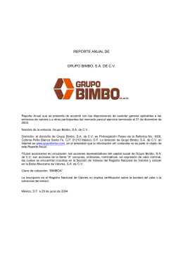 REPORTE ANUAL DE GRUPO BIMBO, S.A. DE C.V.