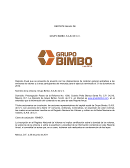 REPORTE ANUAL DE GRUPO BIMBO, SAB DE CV