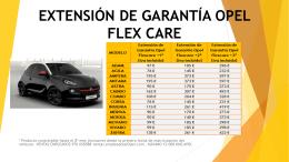 EXTENSIÓN DE GARANTÍA OPEL FLEX CARE