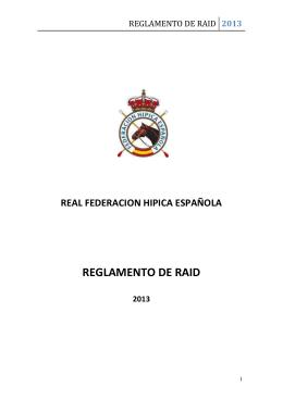 reglamento de raid 2013 - Real Federación Hípica Española