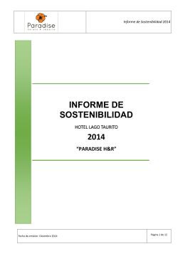 INFORME DE SOSTENIBILIDAD 2014