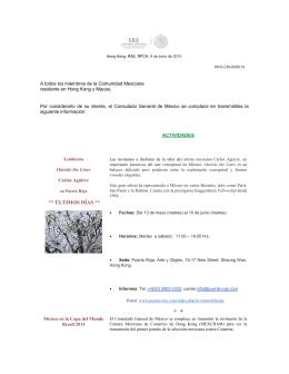 HKO-CM-0029/14. Mensaje Semanal Consulmex 6 de junio