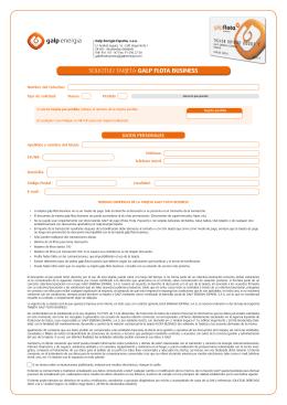 Solicitud Tarjeta Galp Flota Business Actualizado el