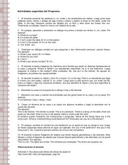 Actividades sugeridas del Programa 1. El docente presenta las