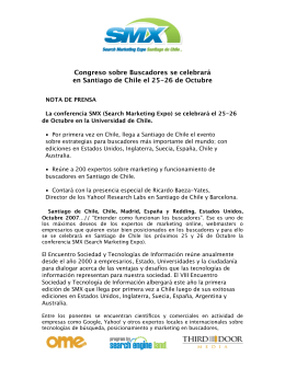 Congreso sobre Buscadores se celebrará en Santiago de Chile el