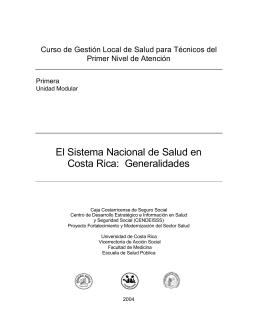 El Sistema Nacional de Salud en Costa Rica