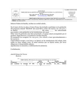 """Circular 016 - Grabación programa """"Bichos"""" Canal RCN"""