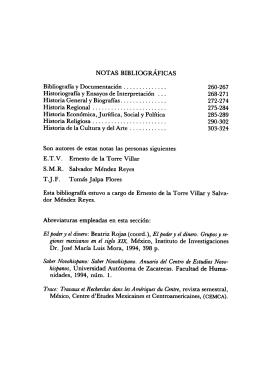 notas bibliográficas - Instituto de Investigaciones Históricas