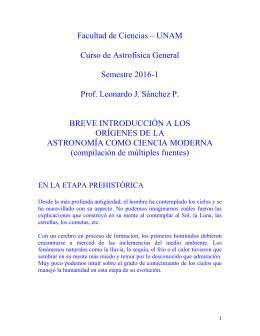 Facultad de Ciencias – UNAM Curso de Astrofísica General