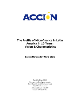 The Profile of Microfinance in Latin America in 10 Years