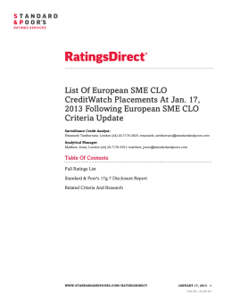 List Of European SME CLO CreditWatch