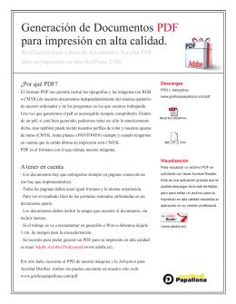Generación de Documentos PDF para impresión en alta calidad.