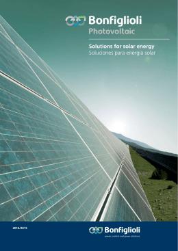 Solutions for solar energy Soluciones para energía solar