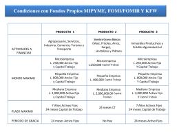 Condiciones con Fondos Propios MIPYME, FOMI/FOMIR Y KFW