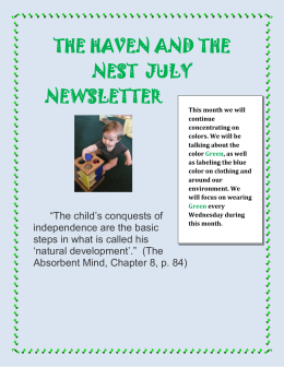 THE HAVEN AND THE NEST JULY NEWSLETTER