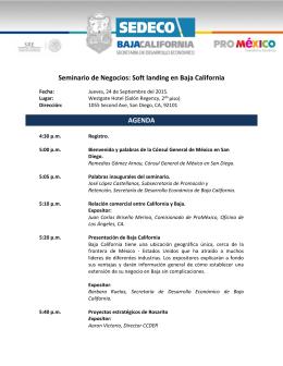 Seminario de Negocios: Soft landing en Baja California AGENDA