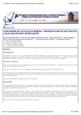carcinoma de celulas de merkel: presentacion de un caso en