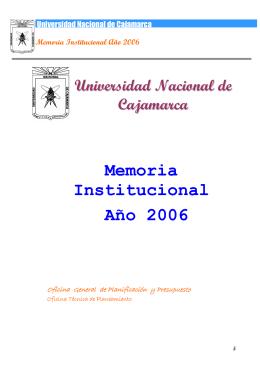 Memoria Institucional Año 2006 - Universidad Nacional de Cajamarca
