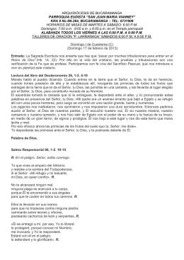 I Domingo de Cuaresma, Ciclo C. San Lucas 4,1-13