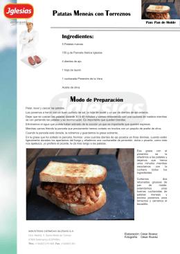 Patatas Meneás con Torreznos Modo de Preparación Ingredientes: