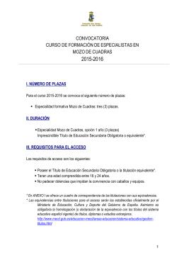 Convocatoria formación de especialistas MOZOS 15-16
