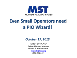 Even Small Operators need a PIO Wizard!
