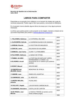 LIBROS PARA COMPARTIR - Cáritas Diocesana de Zaragoza