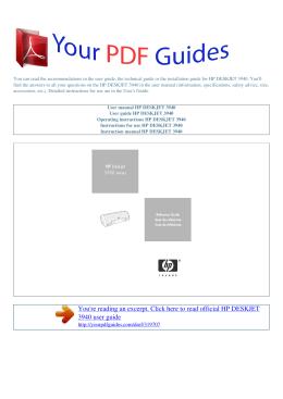 Operating instructions HP DESKJET 3940