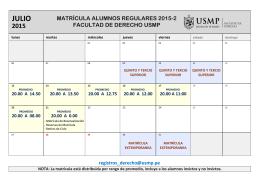 Cronograma de Matrícula - Facultad de Derecho