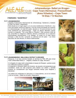 Johanesburgo- Safari en Kruger- Cape Town-Hermanus