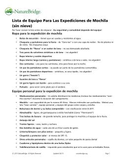 Lista de Equipo Para Las Expediciones de Mochila (sin nieve)