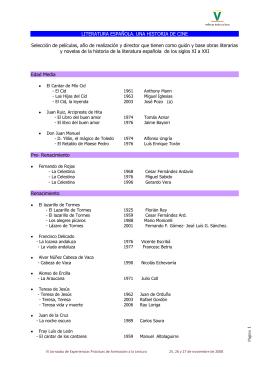 Listado de películas basadas en obras literarias españolas