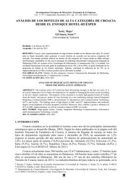 Análisis de los hoteles de alta categoría de Croacia