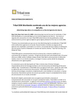 Tribal DDB Worldwide nombrada una de las mejores agencias del