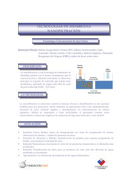 TECNOLOGÍAS DE MEMBRANA NANOFILTRACIÓN