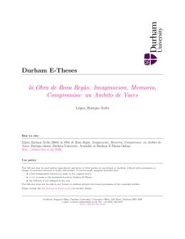 Durham E-Theses la Obra de Rosa Reg`as. Imaginacion