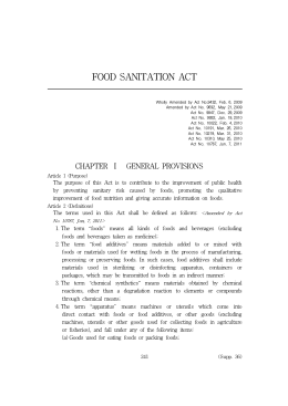 FOOD SANITATION ACT