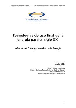 Tecnologías de uso final de la energía para el siglo XXI Informe del