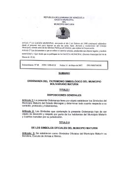 Ordenanza Simbología de Maturín marzo 2007