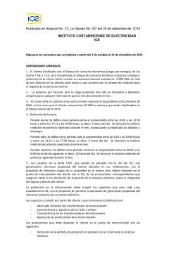 Tarifas del ICE - Instituto Costarricense de Electricidad