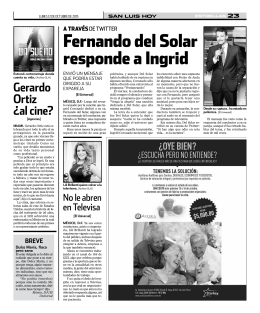 Fernando del solar responde a Ingrid