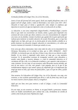 Carta de bienvenida - Mercedarias de la Caridad, Herencia