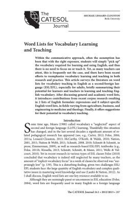 Word Lists for Vocabulary Learning and Teaching