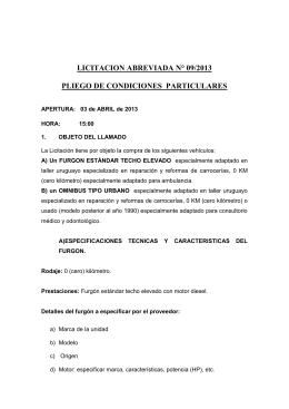 Pliego furgon y omnibus - Gobierno Departamental de Tacuarembó