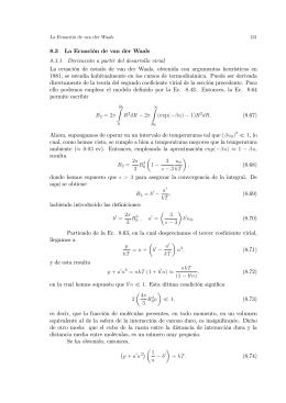 8.3 La Ecuación de van der Waals 8.3.1 Derivación a partir del