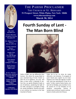Fourth Sunday of Lent - The Man Born Blind