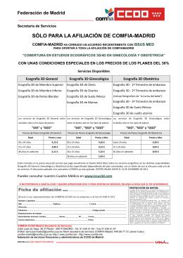 SÓLO PARA LA AFILIACIÓN DE COMFIA-MADRID - Comfia-CCOO