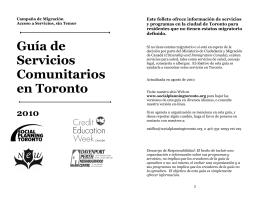 Guía de Servicios Comunitarios en Toronto