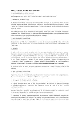 BASES `DESCUBRE LOS DESTINOS CATALONIA`: