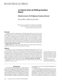 La historia clínica de Wolfang Amadeus Mozart